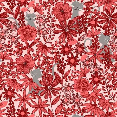 Purrfect Petals on Red, Quilting Cotton, Lewis and Irene - Weave & Woven