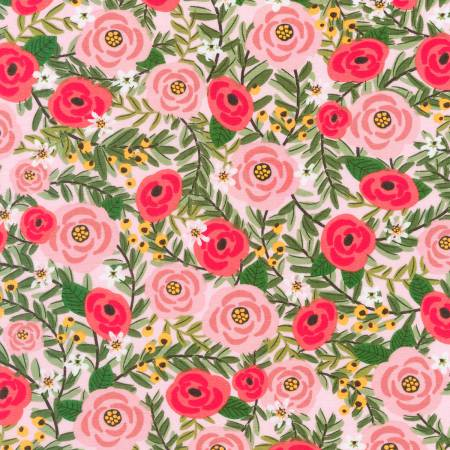 Pink Laguna Roses, Jersey Knit Fabric, Robert Kaufman, Weave and Woven