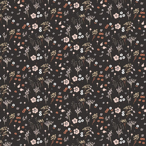 Baby Farrah Floral in Soft Black | Organic Poplin, Quilting Cotton, Birch Fabrics - Weave & Woven