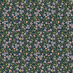 Berry Blossoms on Navy, Quilting Cotton, Poppie Cotton - Weave & Woven