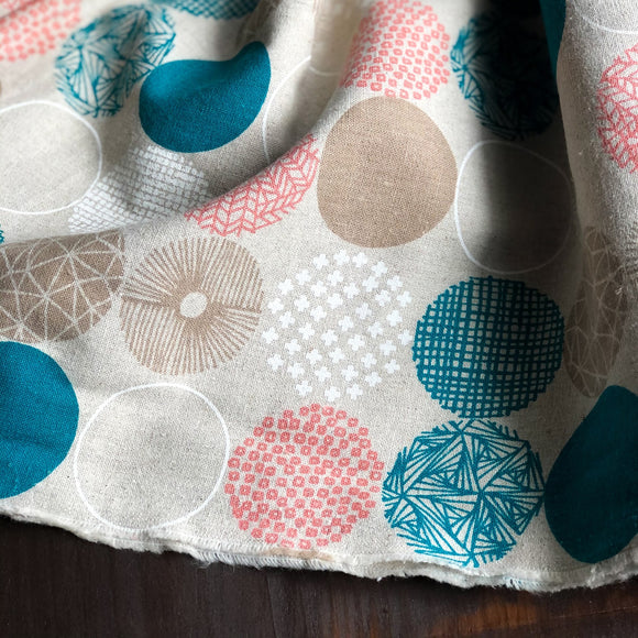 Geometric Circles on Taupe | Linen Blend - Weave & Woven