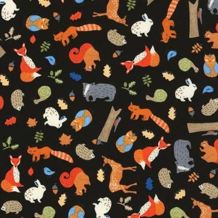 Forest Critters on Black, Camp Bear Collection for Timeless Treasures, Weave and Woven