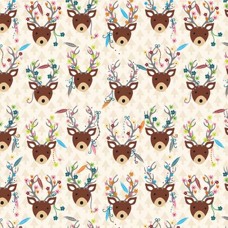 Deer Heads in Cream, Quilting Cotton, Timeless Treasures - Weave & Woven
