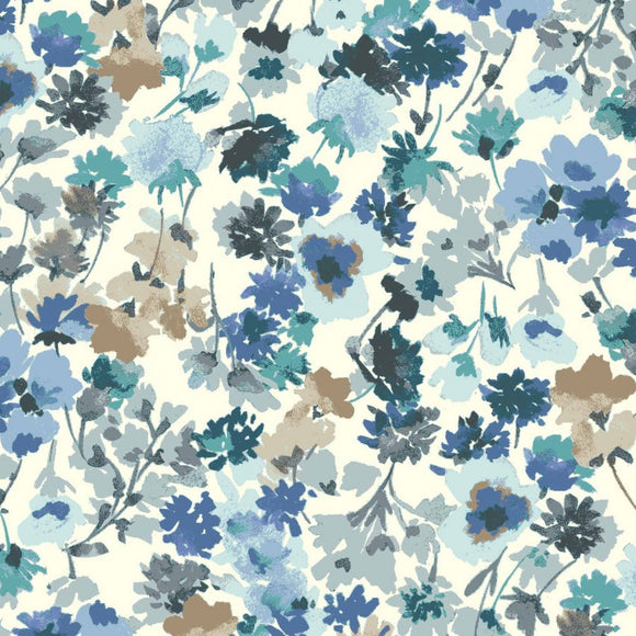 Flower Garden in Blues | Cotton Lawn - Weave & Woven