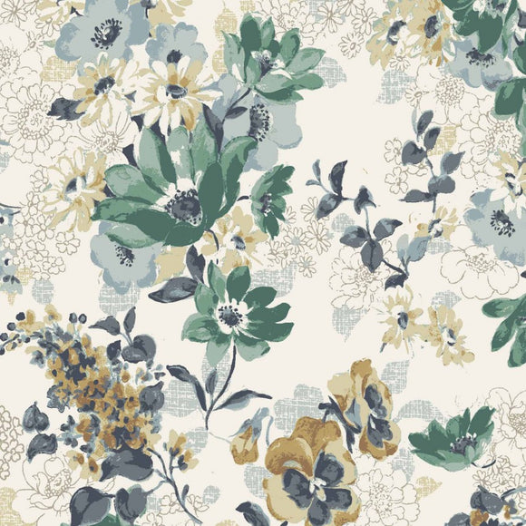 Flower Garden in Greens | Cotton Lawn - Weave & Woven