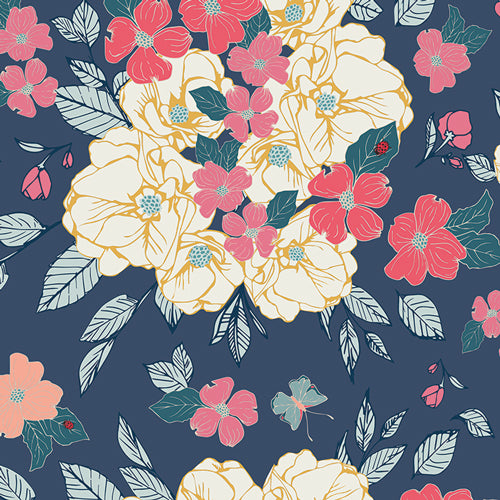 Flowery Chant in Gentle, Flower Child Collection by Maureen Cracknell For Art Gallery Fabrics, Weave and Woven
