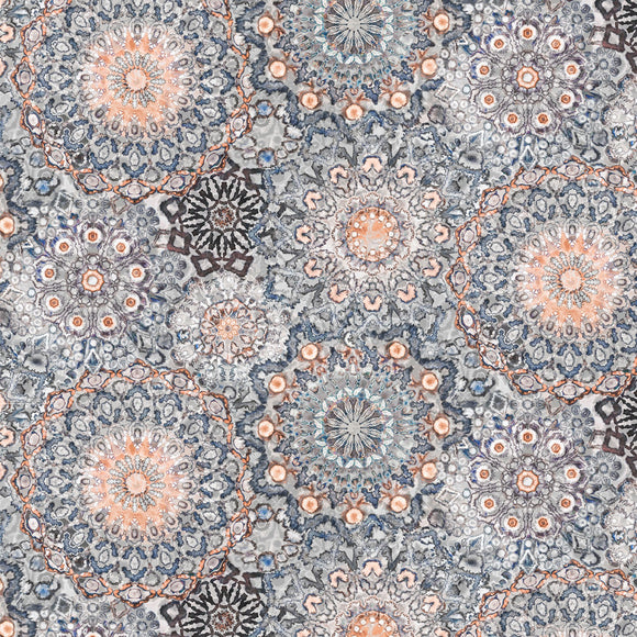 Kashmir Kaleidoscope in Coral, Quilting Cotton, Paintbrush Studio - Weave & Woven