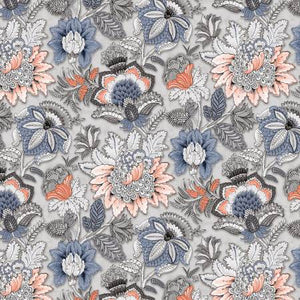 Kashmir Kaleidoscope Paisley in Coral, Quilting Cotton, P & B Textiles - Weave & Woven
