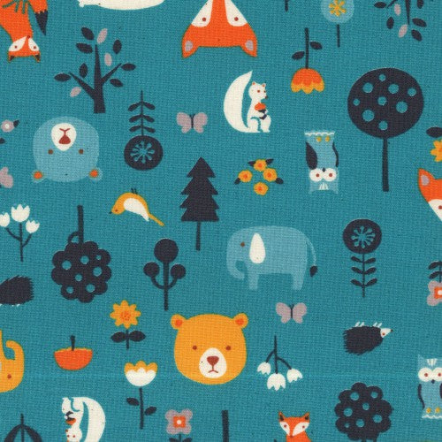 Woodland Critters on Teal, Quilting Cotton, Kokka - Weave & Woven