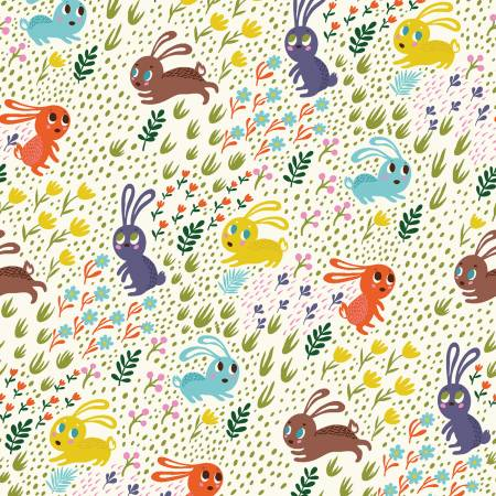 Forest Bunnies in Rainbow, Quilting Cotton, Clothworks - Weave & Woven