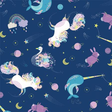 Navy Orchestra ~ Glow in the Dark, Camelot Fabric | Weave and Woven