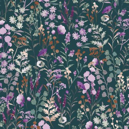 Wildflowers in Basil with metallic copper, Lilac and sage collection for RJR Fabric | Weave and Woven