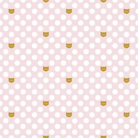 Chloe Cat Dots in Pink ~ Metallic, Quilting Cotton, Riley Blake Fabrics - Weave & Woven