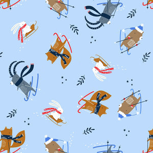 Skiing Animals on Blue - Weave & Woven