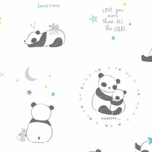 Pandas in White, Wide Awake Collection for Dear Stella Fabrics, Weave and Woven