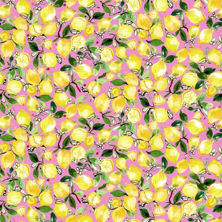 Lemons on Pink, Quilting Cotton, Dear Stella - Weave & Woven