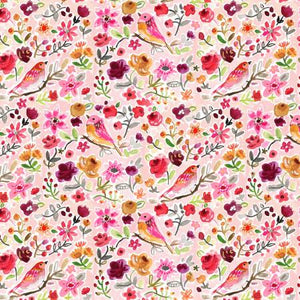 Parisian Birds in Pink, Quilting Cotton, Dear Stella - Weave & Woven