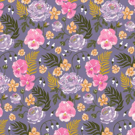 Pansies in Multi, Botany Collection by Rae Ritchie for Dear Stella Fabric, Weave and Woven