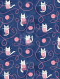 Kitty Knitting on Blue, Quilting Cotton, Dear Stella - Weave & Woven