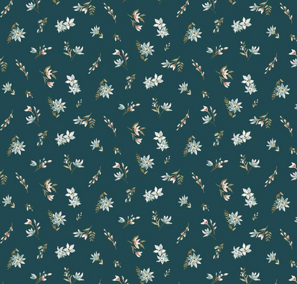 Winterbourn Ditsy in Teal | Cotton Lawn - Weave & Woven