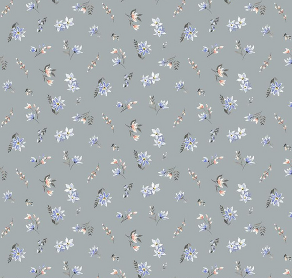 Winterbourn Ditsy in Grey | Cotton Lawn - Weave & Woven