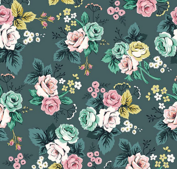 Splendor Roses in Teal, Quilting Cotton, Riley Blake Fabrics - Weave & Woven