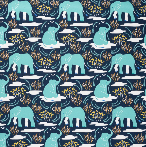 Garden Elephants on Blue | Organic Cotton, Quilting Cotton, Nerida Hansen - Weave & Woven