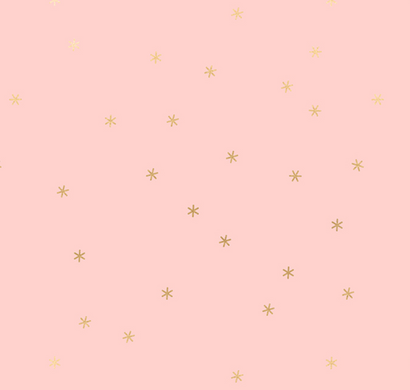 Spark in Pale Pink | Metallic Gold, Quilting Cotton, Ruby Star Society - Weave & Woven