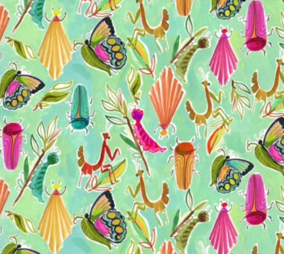 Summer Bugs on Emerald, Quilting Cotton, Dear Stella - Weave & Woven