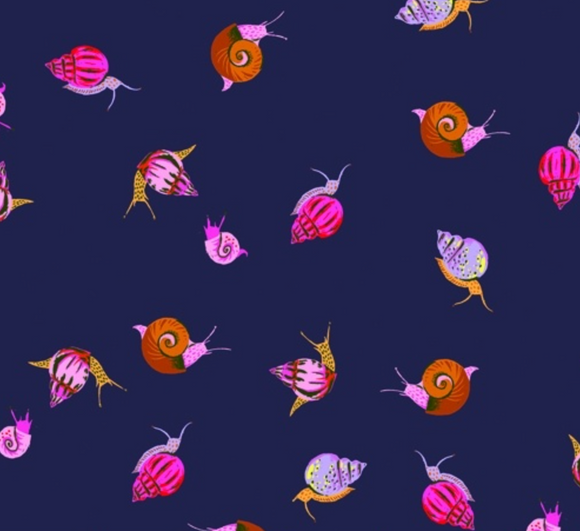 Snails on Navy, Quilting Cotton, Windham - Weave & Woven