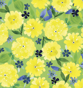 Buttercups on Green, Quilting Cotton, 3 Wishes - Weave & Woven