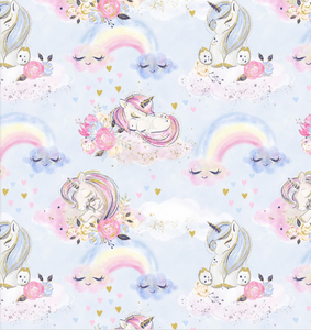 Unicorn Dreams on Blue | Gold Sparkle, Quilting Cotton, 3 Wishes - Weave & Woven