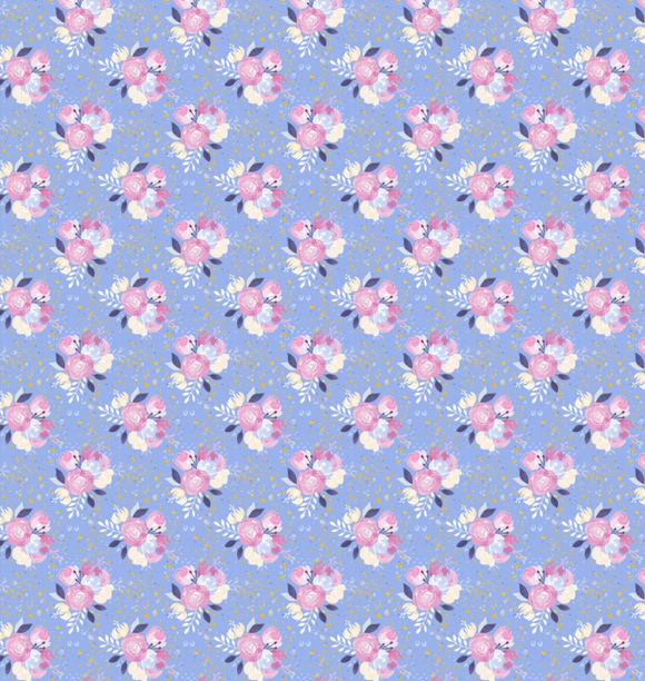 Unicorn Florals on Blue | Gold Sparkle, Quilting Cotton, 3 Wishes - Weave & Woven