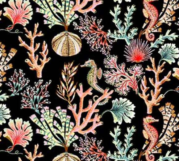 Coral Reef on Black - Weave & Woven