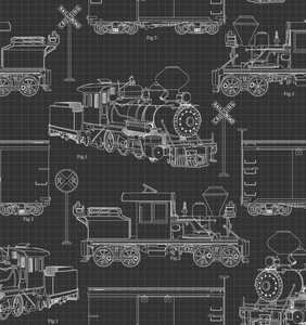 Steam Train Blue Prints on Black - Weave & Woven