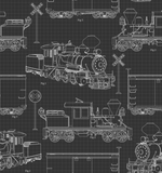 Steam Train Blue Prints on Black, Quilting Cotton, 3 Wishes - Weave & Woven