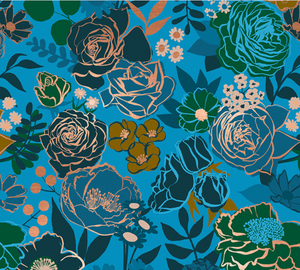 Grow in Bright Blue | Metallic Gold, Quilting Cotton, Ruby Star Society - Weave & Woven