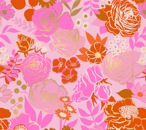 Grow in Peony | Metallic Gold, Quilting Cotton, Ruby Star Society - Weave & Woven