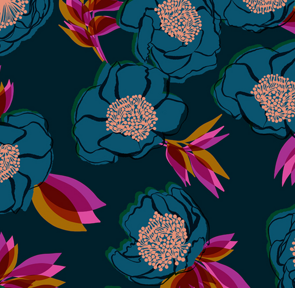 Rise Florals in Dark Teal | Metallic Cotton Sateen Wide Back 108