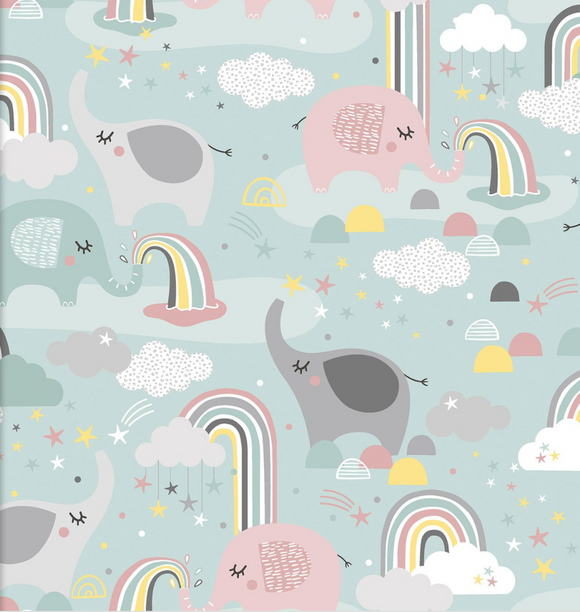 Elephants and Rainbows on Mint | Flannel - Weave & Woven
