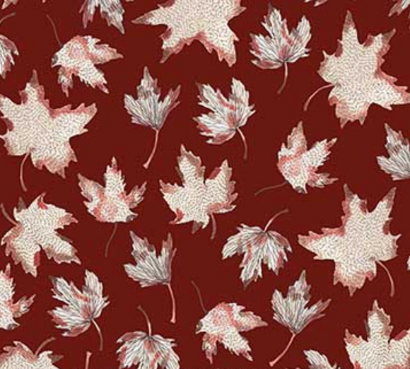 Maple Leaves on Red