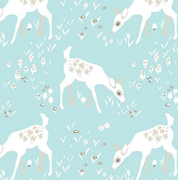 Blue Deer ~ Organic, Quilting Cotton, Clothworks - Weave & Woven