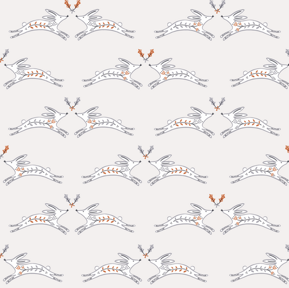 Winter Rabbits in White Metallic Copper, Winterfold Collection for Dashwood Studio, Weave and Woven