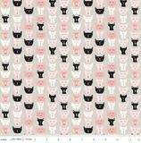 Meow Faces in Grey, Meow Collection For Riley Black Fabric ~ Weave and Woven