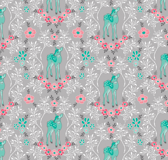 Flora Deer in Grey, Quilting Cotton, Riley Blake Fabrics - Weave & Woven