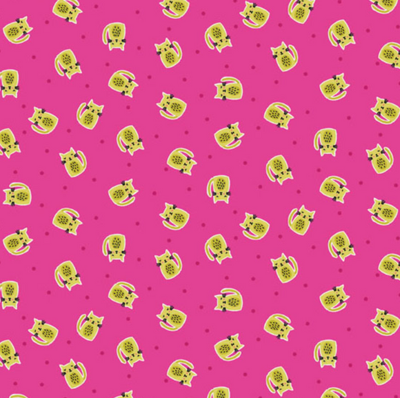 Kitty Scatter in Pink, Quilting Cotton, Andover/Makower UK - Weave & Woven