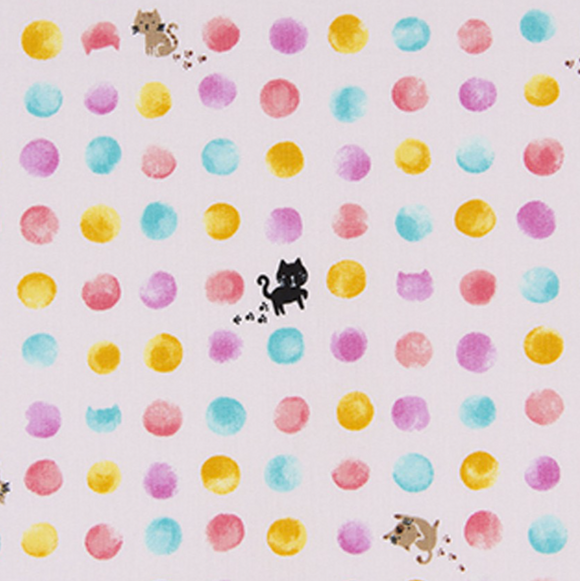Kitten Dots in Pink, Quilting Cotton, Cosmo - Weave & Woven