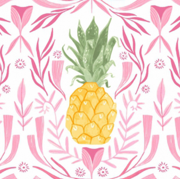 Pineapples in White, Pink Paradise Collection by Rae Ritchie For Dear Stella Fabrics, Weave and Woven