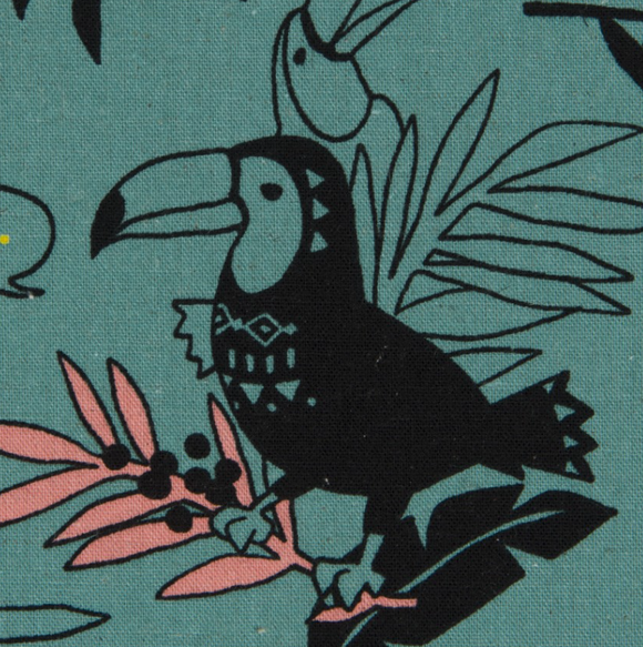 Toucans in Teal, Cosmo Fabrics, Cotton Linen Canvas Fabric, Weave and Woven