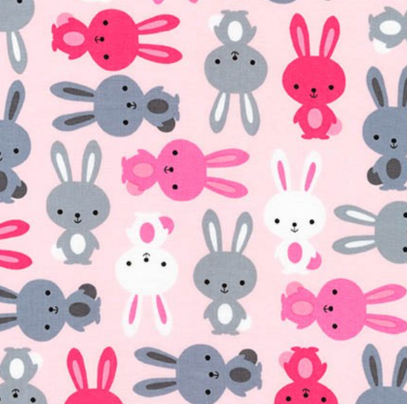 Bunnies in Rose, Quilting Cotton, Robert Kaufman - Weave & Woven